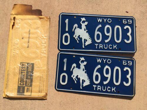 1969 Wyoming Truck License Plates (Pair) 10 6903 (NOS)