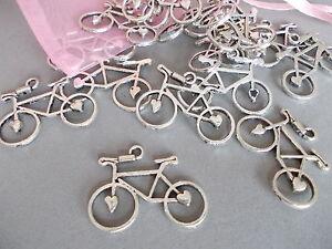 20 X BICYCLE, BIKE,CYCLE ANTIQUE SILVER TIBETAN METAL CHARMS/PENDANTS