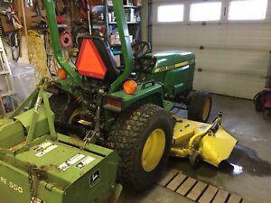 """John Deere 855 Tractor. 550 Tiller.  72"""" Mower"""