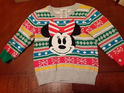 Disney Store Minnie Mouse Christmas Sweater Baby Girl Size 12-18 months, PO