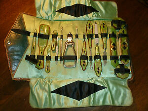Vintage-German-Grooming-Set-Celluloid-Green-Black-Gold-Leather-Case-16-pcs