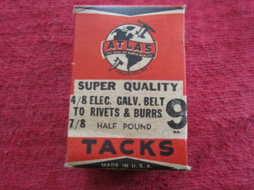 1940 ATLAS #9 GALVANIZED RIVETS & BURRS 1/2 Lb BOX ASSORTED 3/8, 1/2, 3/4, & 7/8