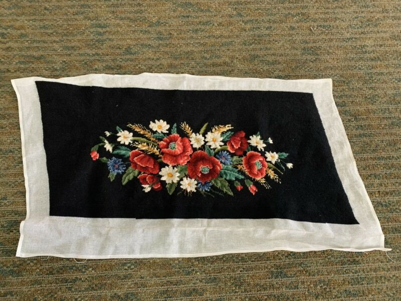 Vintage Floral Needlepoint Canvas Pillow Cover Top Unfinished