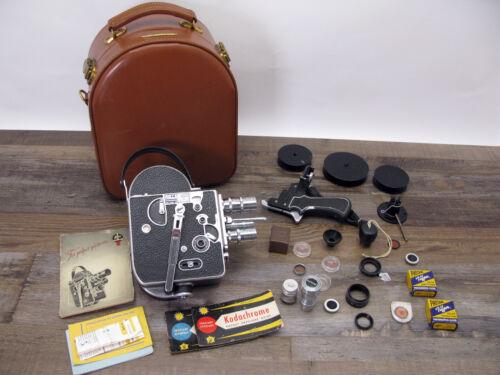 Paillard Bolex H-8 Movie Camera + 5 Lenses, Accessories, Case NICE! Works!