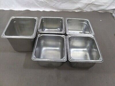 Lot Of 5 Stainless Steel Food Salad Bar Buffet Steam Table Insert Pans Container