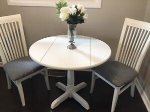 Refinished white dinette set, 2 wings/2 reupholstered chairs