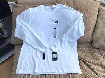 Nike Club Crew Neck White Long Sleeve Top Mens Size XXL Brand...