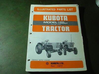 Kubota L225 L225dt Tractor Illustrated Parts List Manual Book Catalog