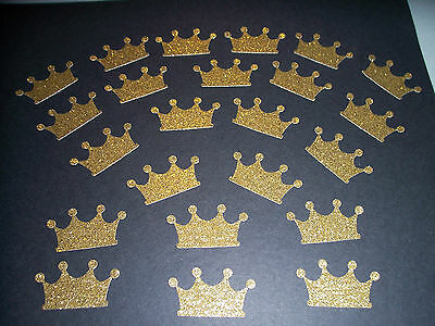 100-CROWNS Gold Glitter --die cuts, punchies, confetti, scrapbook, party, craft