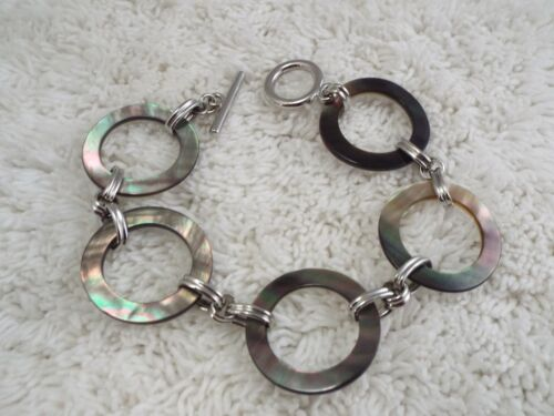 Silvertone Gray Abalone Shell Rings Bracelet (B40)