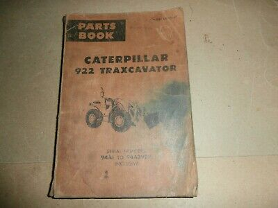 Vintage 1971 Caterpillar 922 Traxcavator Parts Book Manual 94a1 To 94a3929