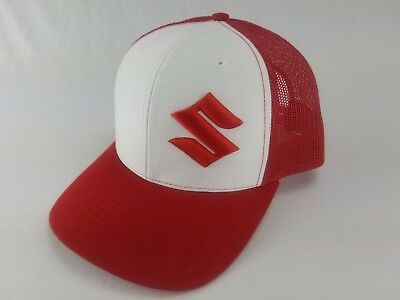 Hat Red, White New Cap Tucker Hat Motorcycle 3d embroidered (Mark Hat)