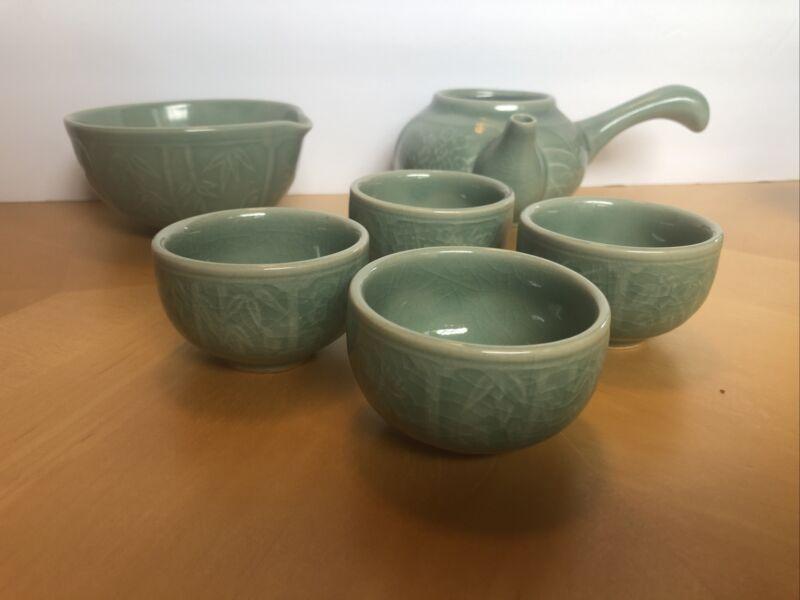 Traditional Vintage KOREAN Celadon 6 Piece Tea Set *** Missing Teapot Top***