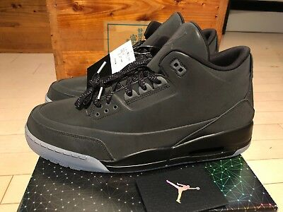 2013 Nike Air Jordan 5lab3 III 3 Black Retro Black 3M Reflective size 14