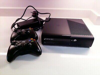 BLACK MICROSOFT XBOX 360 E MODEL 500GB CONSOLE COMPLETE - PAL & 2 CONTROLLERS.