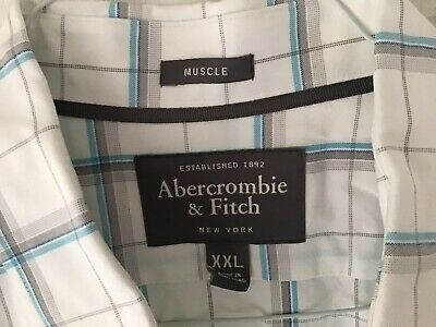 Fantastic Abercrombie & Fitch White Check Cotton Long Sleeved Shirt - Size XXL