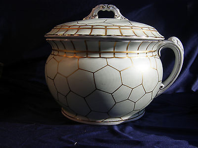 ANTIQUE Ironstone John Maddock  Burslem England Chamber Pot Mint Green 1906