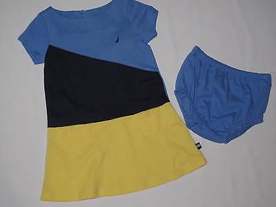 NWT NAUTICA  2pc set dress GIRL 12M yellow, blue