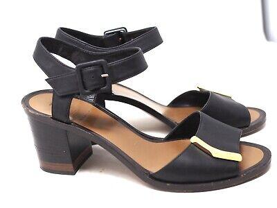 Fendi Black Leather Ankle Buckles Open Toe Logo HIgh Heels Shoes Size 38.5 /8.5