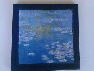 """""""Monet, """",Seerosenteich,Keilrahmem,Serviettentechnik,20x20cm,handgemacht,neu"""