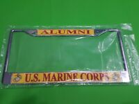 U.S MILITARY MARINE CORPS VETERAN U.S.M.C METAL LICENSE PLATE FRAME NEW SEALED