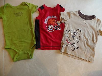 3 baby boys SHIRTS LOT carters snap 1 pc daddy romper DOG jersey 12 MONTHS clean