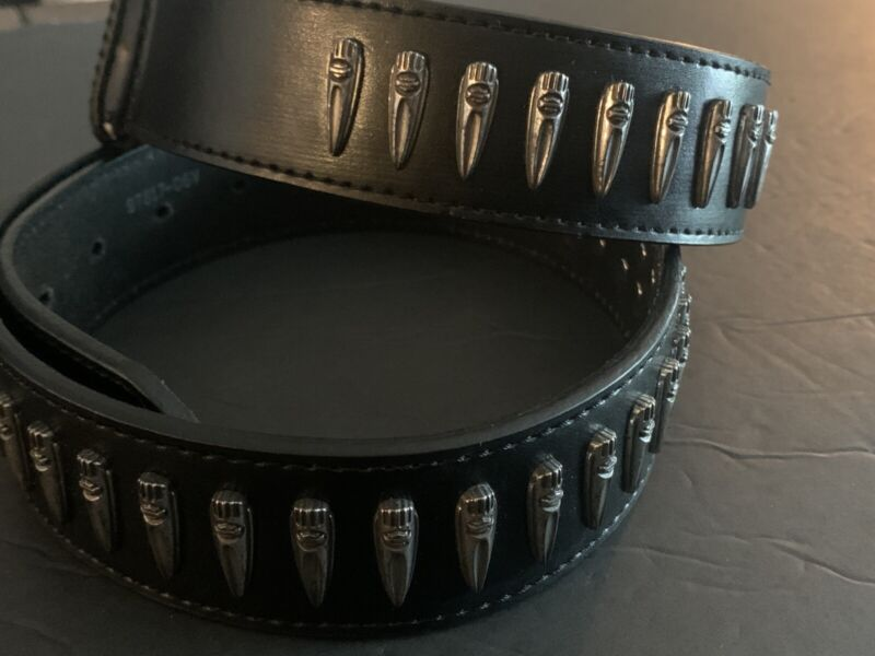 HARLEY DAVIDSON BLACK LEATHER STUDDED BELT SIZE 36  SILER TONE HARDWARE