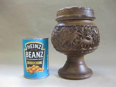 Vintage Hand Carved Lidded Pot / Urn ~ Deer Type Animals / Red Glass Eyes