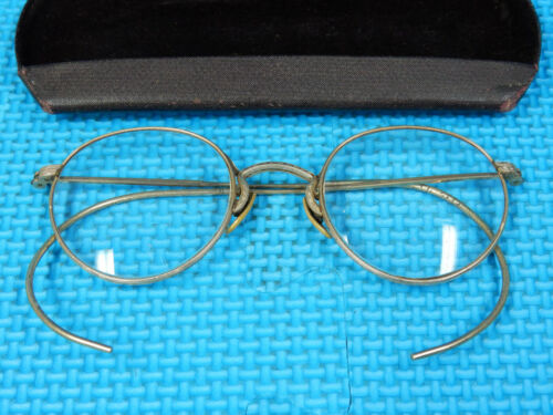 VINTAGE EYE GLASSES ROLL MO FULVUE 10-12KGF GOLD FILLED WITH CASE KANSAS U.S.A