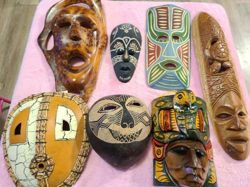 Tribal Wood Wall Mask Hand Carved  Wooden Decor Art Lot of 7