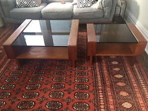Mid century teak smoky glass coffee table and side table.