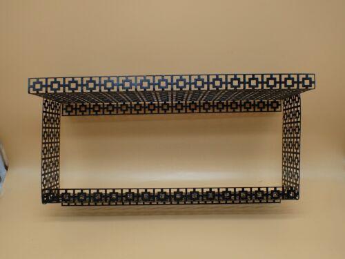 RARE STYLE Vintage Metal Mesh Black Wall Shelf Large 18 3/4 x 9 1/2 Mid-Century