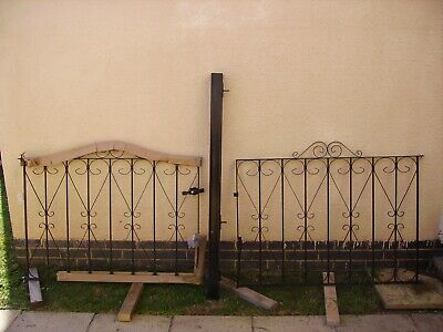 8ft wide wrought iron gates and post