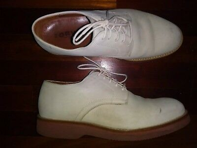 ORVIS Men's White Suede Leather Buckskin Lace-Up OXFORD Shoes 7.5M Authentic White Suede Oxford