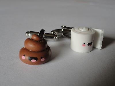 Glücklich Poop und Toilettenpapier Manschettenknöpfe Gross Lustige Niedliche Poo