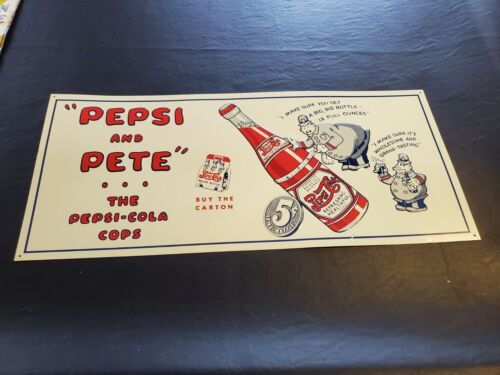 Awesome Pepsi And Pete Cola Metal Tin Adverting Soda Cola Bottle Sign
