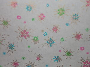 VINTAGE ATOMIC CHRISTMAS DEPARTMENT STORE WRAPPING PAPER 3 YARDS GIFT WRAP SNOW