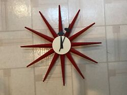 Original George Nelson Red white sunburst  Clock by VITRA DESIGN MUSEUM