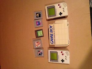 gameboy original with case and few games