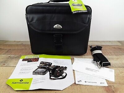 NEW- Samsonite Black Leather Notebook System Laptop Brief Case w/Strap