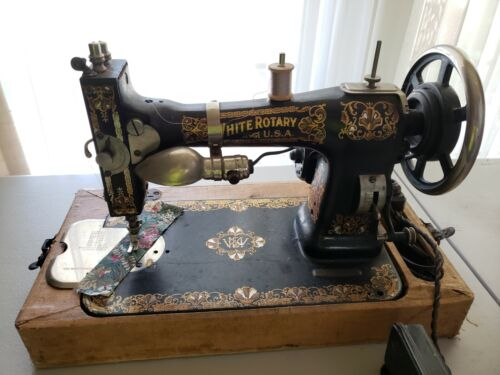 Antique White Rotary Sewing Machine circa 1913, @KIDSTOYZ®2021