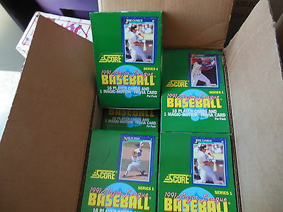 Baseball Cards Unopened Box (1991 SCORE BASEBALL CARDS UNOPENED BOX 36 PACKS SERIES1 FACTORY SEALED FROM CASE )