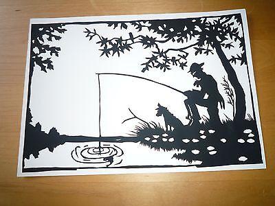 Scherenschnitt  - Motiv : Der Angler