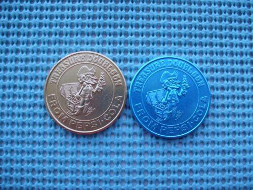 1971 PEPSI Treasure Doubloons - gold aluminum & blue aluminum doubloons
