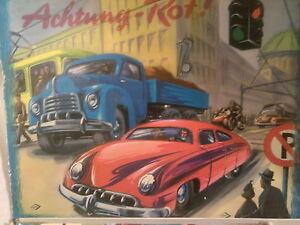 Verkehrsspiel Brettspiel m. Automodellen Esso Tankstelle Porsche 356 Noris 50er