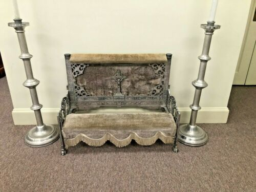 Antique Ornate Funeral Home Folding Kneeler And Vigil Lamps Torchieres