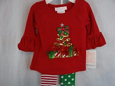 New Baby Infant Girls Bonnie Baby Holiday Christmas Tree 2pc Outfit 3 - 6 M NWT ()