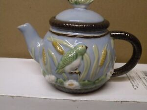 CBK LTD NOUVEAU MAJOLICA BIRD AND WHEAT CLAY TEAPOT  HTF