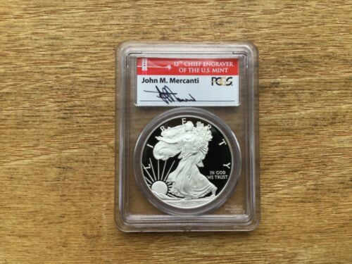 2012 S Silver Eagle PCGS PR70 DCAM First Strike John M Mercanti Coin&Currency