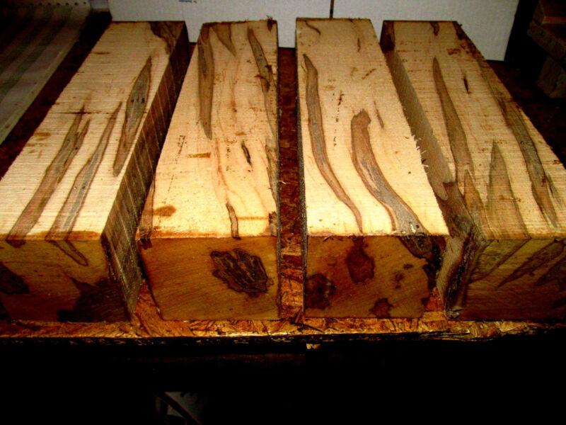 "FOUR (4) KILN DRIED AMBROSIA MAPLE TURNING LUMBER LATHE WOOD 3"" X 3"" X 12"""